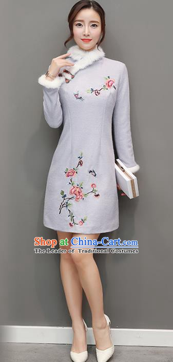 Traditional Chinese National Costume Hanfu Embroidered Butterfly Peony Grey Qipao Dress, China Tang Suit Cheongsam for Women