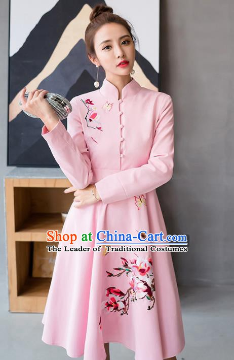 Traditional Chinese National Costume Hanfu Printing Pink Dress, China Tang Suit Cheongsam for Women
