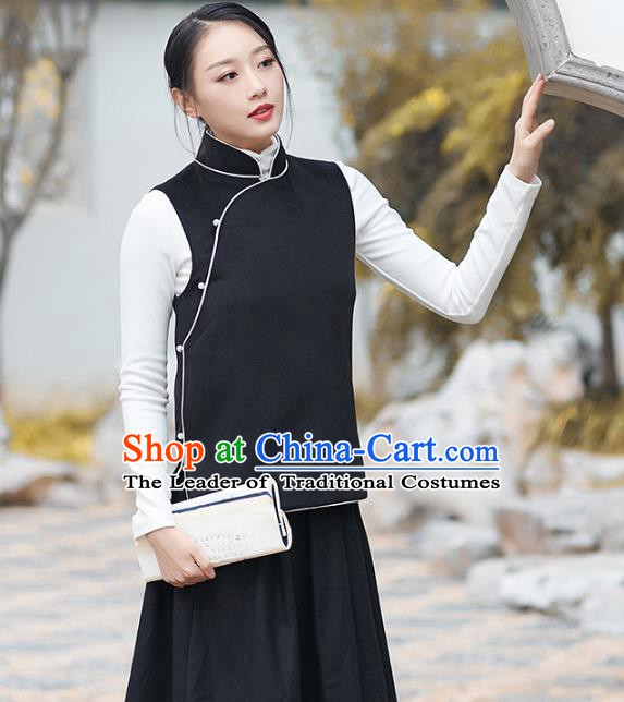 Traditional Chinese National Costume Hanfu Slant Opening Black Wool Vests, China Tang Suit Waistcoat for Women