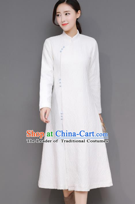 Traditional Chinese National Costume Hanfu Plated Buttons White Qipao Dress, China Tang Suit Cheongsam for Women