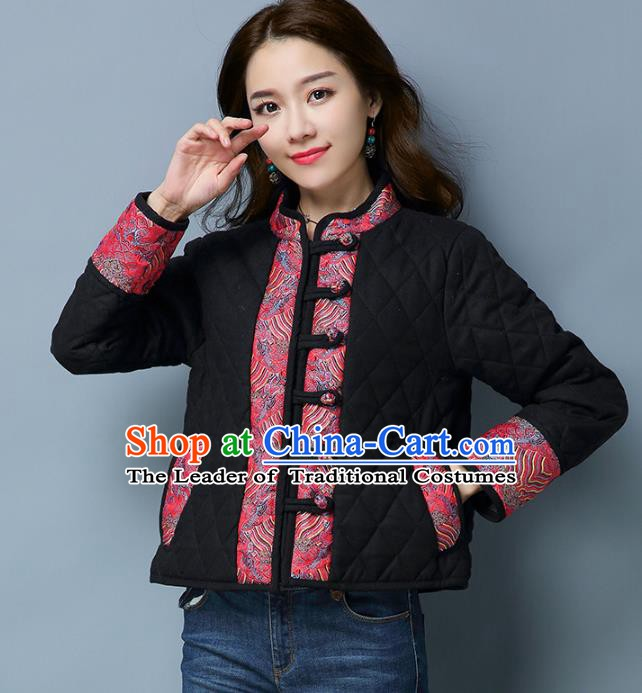 Traditional Chinese National Costume Hanfu Slant Opening Black Cotton-padded Jacket, China Tang Suit Coat for Women
