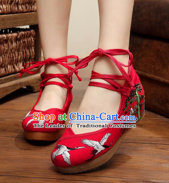 Asian Chinese National Red Embroidered Crane Shoes, Traditional China Princess Shoes Hanfu Embroidery Shoes for Women