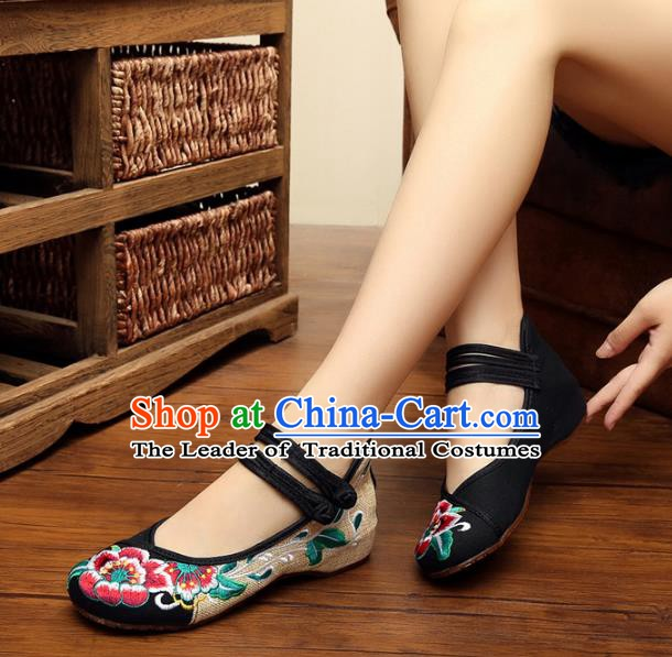 Asian Chinese National Black Embroidered Peony Shoes, Traditional China Princess Shoes Hanfu Embroidery Shoes for Women