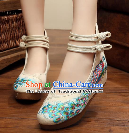Asian Chinese National White Embroidered Peacock Shoes, Traditional China Princess Shoes Hanfu Embroidery Shoes for Women