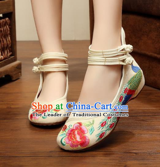Asian Chinese National Embroidered Peony Phoenix White Shoes, Traditional China Princess Shoes Hanfu Embroidery Shoes for Women