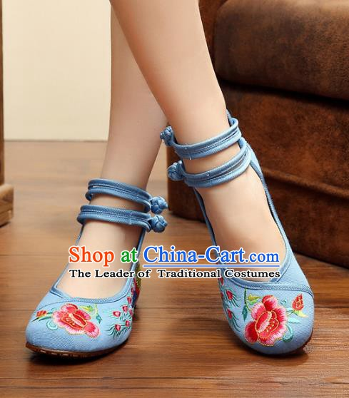 Asian Chinese National Embroidered Peony Phoenix Blue Shoes, Traditional China Princess Shoes Hanfu Embroidery Shoes for Women