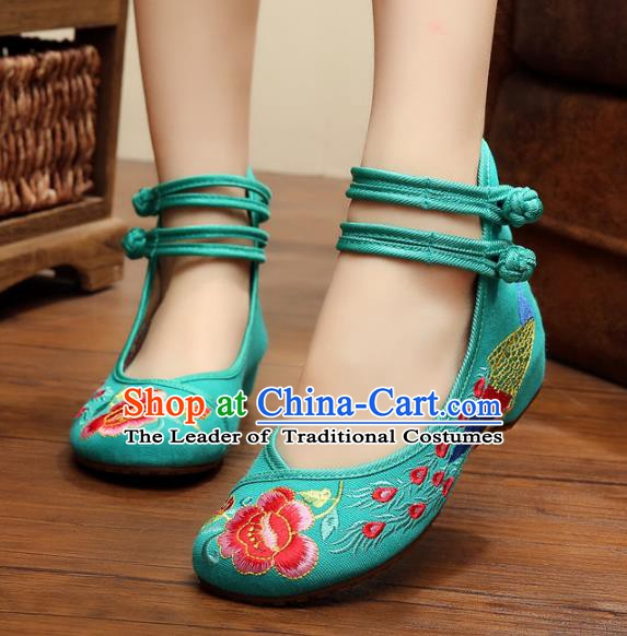 Asian Chinese National Embroidered Peony Phoenix Green Shoes, Traditional China Princess Shoes Hanfu Embroidery Shoes for Women