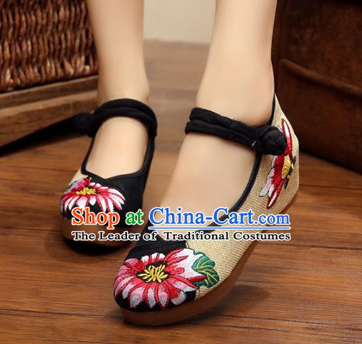 Asian Chinese National Black Linen Embroidered Shoes, Traditional China Princess Shoes Hanfu Embroidery Shoes for Women