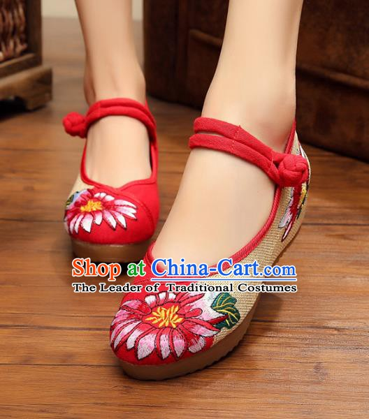 Asian Chinese National Red Linen Embroidered Shoes, Traditional China Princess Shoes Hanfu Embroidery Shoes for Women