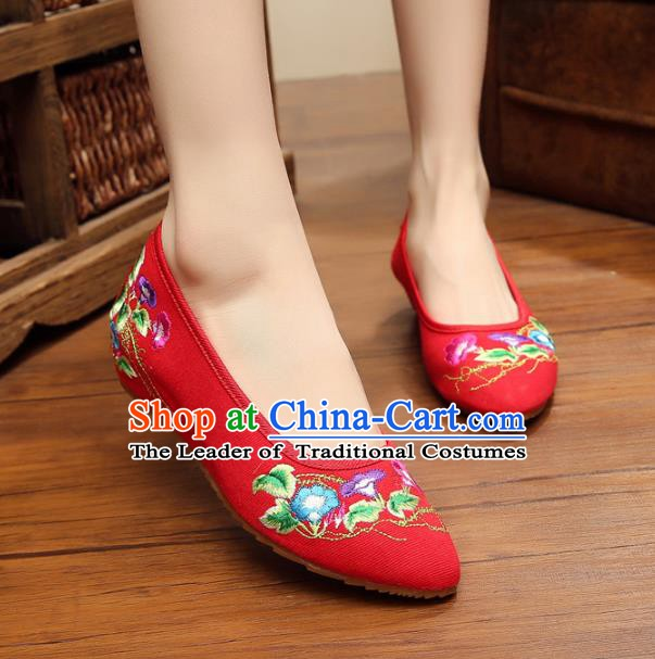 Asian Chinese National Red Embroidered Shoes, Traditional China Princess Shoes Hanfu Embroidery Petunia Shoes for Women