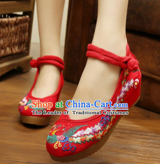 Asian Chinese National Red Embroidered Shoes, Traditional China Princess Shoes Hanfu Embroidery Phoenix Shoes for Women