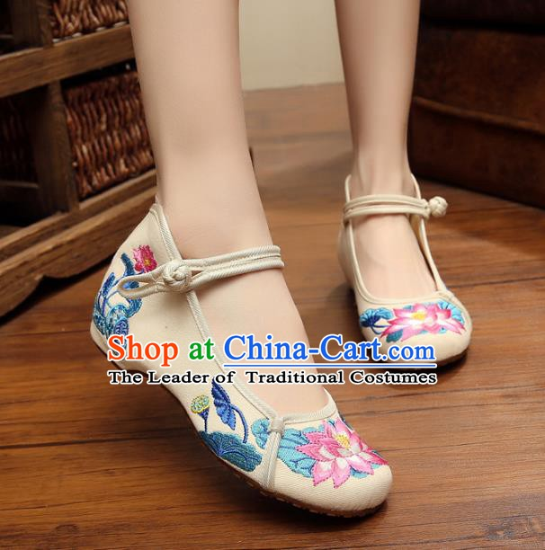 Traditional Chinese National White Linen Embroidered Shoes, China Princess Shoes Hanfu Embroidery Lotus Shoes for Women