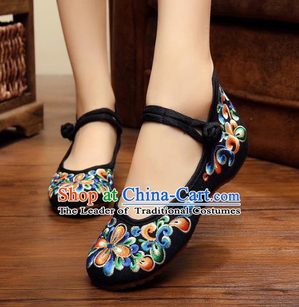 Traditional Chinese National Black Embroidered Shoes, China Princess Shoes Hanfu Embroidery Shoes for Women