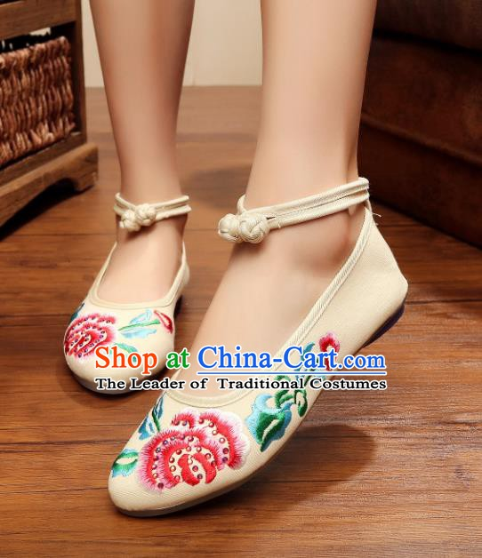 Traditional Chinese National Embroidered Peony White Shoes, China Princess Embroidery Shoes for Women