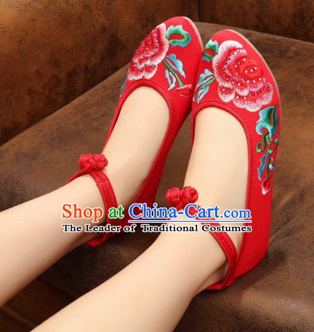 Traditional Chinese National Embroidered Peony Red Shoes, China Princess Embroidery Shoes for Women