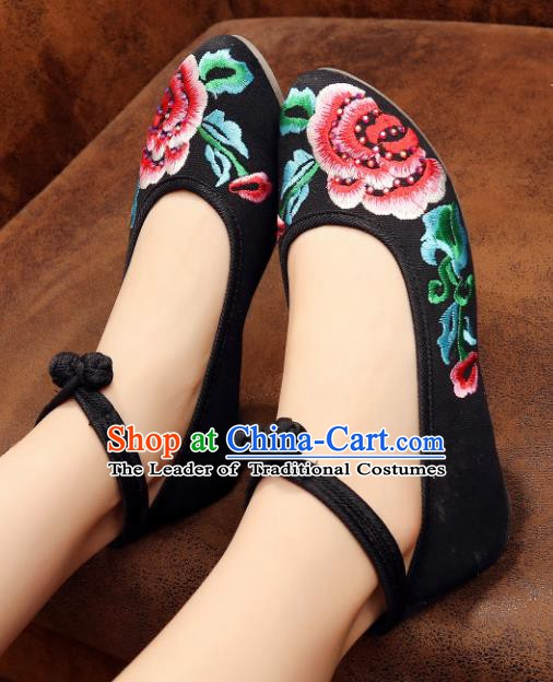 Traditional Chinese National Embroidered Peony Black Shoes, China Princess Embroidery Shoes for Women