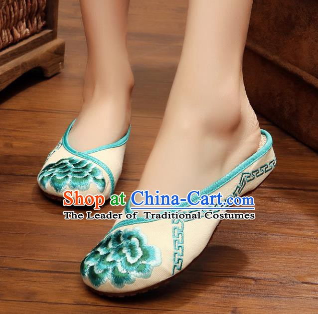 Traditional Chinese National Hanfu Blue Embroidered Shoes, China Princess Embroidery Peony Slippers for Women