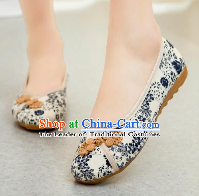 Traditional Chinese National Hanfu White Shoes, China Princess Embroidery Shoes for Women
