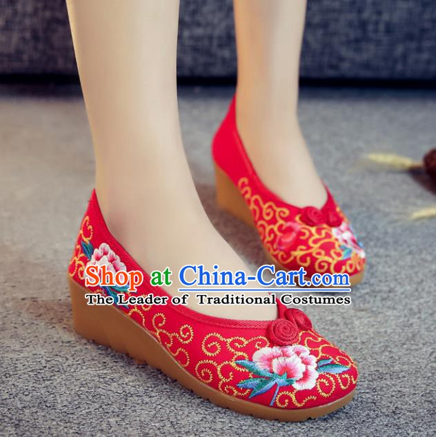 Traditional Chinese National Hanfu Red Embroidered Shoes, China Princess Embroidery Wedge Heel Shoes for Women
