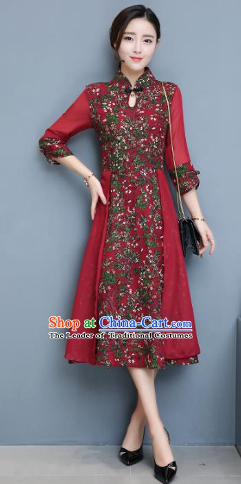 Traditional Chinese National Costume Hanfu Red Stand Collar Qipao Dress, China Tang Suit Cheongsam for Women