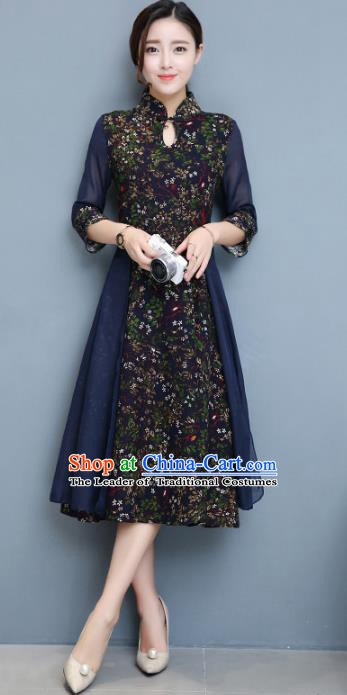 Traditional Chinese National Costume Hanfu Blue Stand Collar Qipao Dress, China Tang Suit Cheongsam for Women