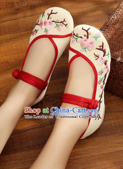 Traditional Chinese National Hanfu White Embroidered Shoes, China Princess Embroidery Wintersweet Shoes for Women
