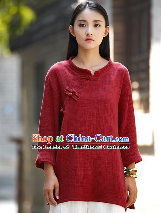 Traditional Chinese National Costume Hanfu Linen Red Blouse, China Tang Suit Cheongsam Upper Outer Garment Shirt for Women
