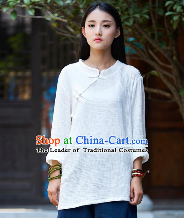 Traditional Chinese National Costume Hanfu Linen White Blouse, China Tang Suit Cheongsam Upper Outer Garment Shirt for Women