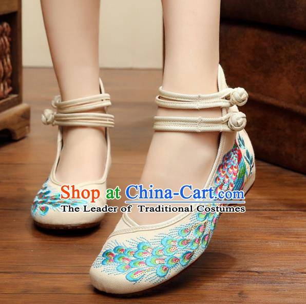 Traditional Chinese National Hanfu Thin Shoes White Embroidered Shoes, China Princess Embroidery Peacock Shoes for Women