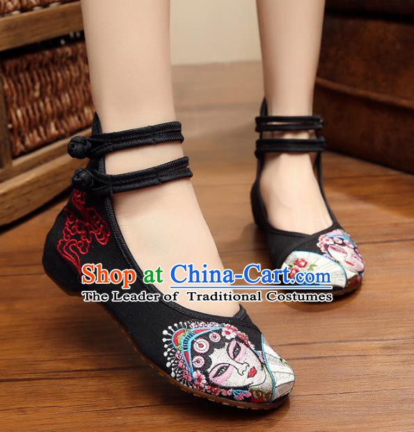 Traditional Chinese National Hanfu Shoes Black Canvas Embroidered Shoes, China Princess Embroidery Shoes for Women