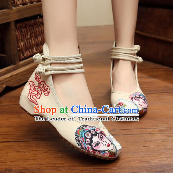 Traditional Chinese National Hanfu Shoes White Canvas Embroidered Shoes, China Princess Embroidery Shoes for Women