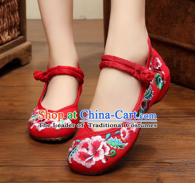Traditional Chinese National Red Canvas Shoes Embroidered Peony Shoes, China Princess Embroidery Shoes for Women