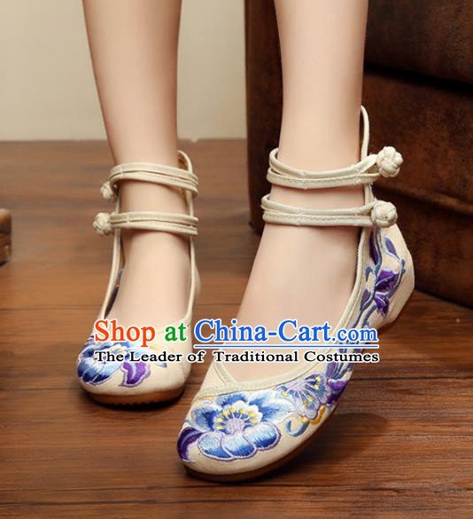 Traditional Chinese National White Canvas Shoes Embroidered Peony Shoes, China Princess Embroidery Shoes for Women