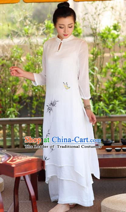 Traditional Chinese National Costume Hanfu Ink Painting White Qipao Dress, China Tang Suit Cheongsam for Women