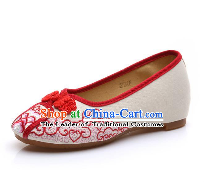 Traditional Chinese National Embroidered Red Shoes, China Princess Embroidery Shoes for Women