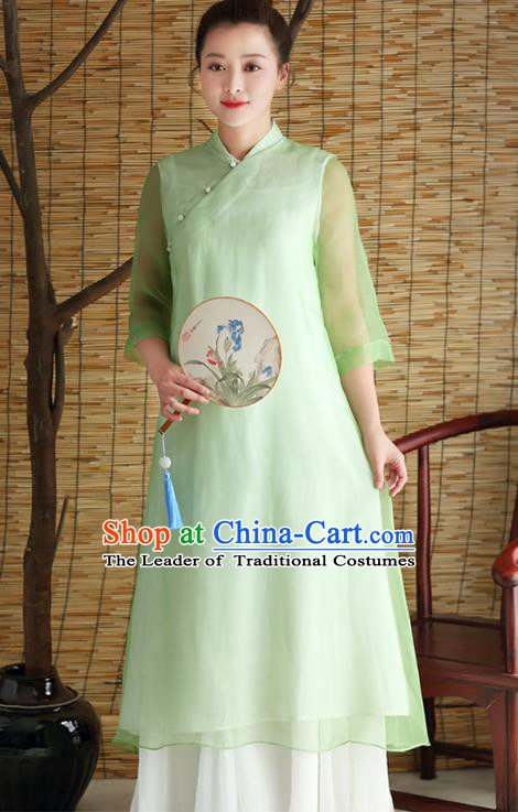 Traditional Chinese National Costume Hanfu Slant Opening Green Qipao Dress, China Tang Suit Cheongsam for Women