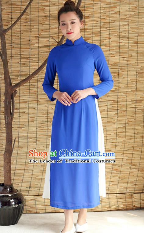 Traditional Chinese National Costume Hanfu Blue Qipao Dress, China Tang Suit Cheongsam for Women
