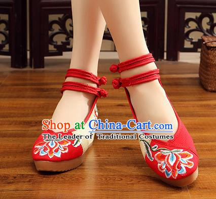 Traditional Chinese National Hanfu Wedding Red Embroidered Shoes, China Princess Embroidery Peony Shoes for Women