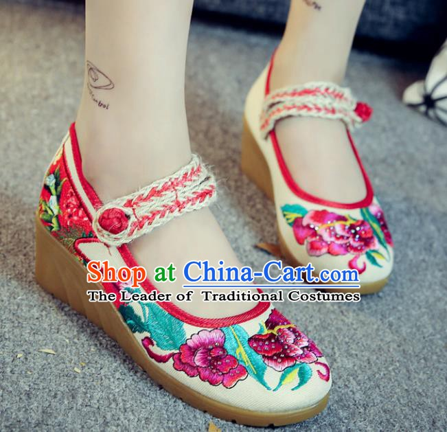 Traditional Chinese National Hanfu White Linen Embroidered Shoes, China Princess Embroidery Peony Shoes for Women
