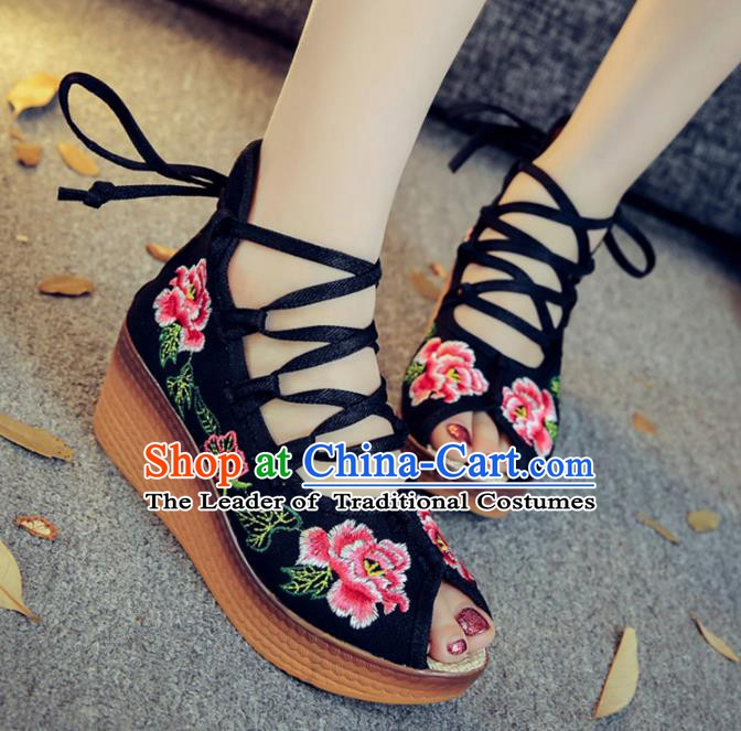 Traditional Chinese National Hanfu Black Embroidered Shoes, China Princess Embroidery Peep-toe Shoes for Women