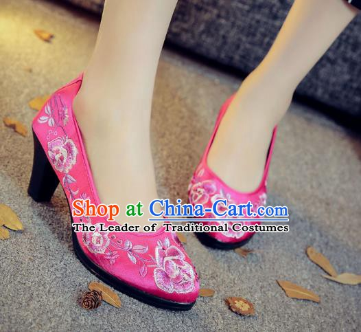 Traditional Chinese National Hanfu Rosy Embroidered Shoes, China Princess Embroidery Peony High-heeled Shoes for Women