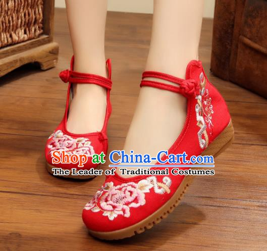 Traditional Chinese National Hanfu Linen Embroidered Shoes, China Princess Embroidery Peony Red Shoes for Women