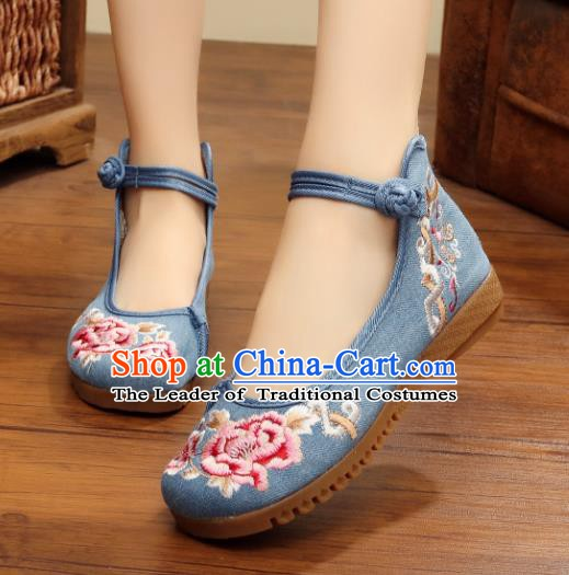 Traditional Chinese National Hanfu Linen Embroidered Shoes, China Princess Embroidery Peony Blue Shoes for Women