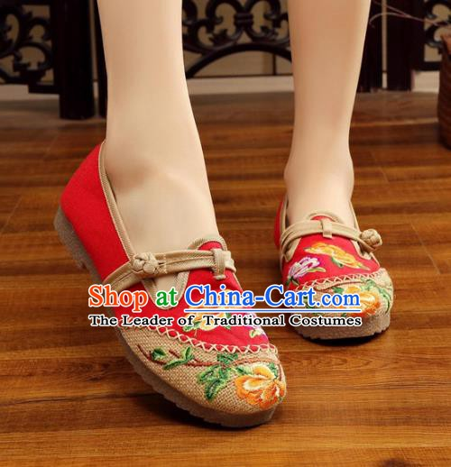 Traditional Chinese National Hanfu Embroidery Peony Linen Shoes, China Princess Red Embroidered Shoes for Women