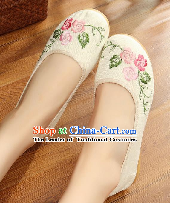 Traditional Chinese National Hanfu Embroidery White Linen Shoes, China Princess Embroidered Shoes for Women