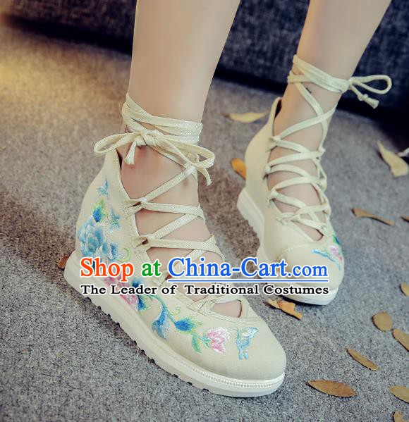 Traditional Chinese National Hanfu White Embroidered Shoes, China Princess Embroidery Peony Shoes for Women