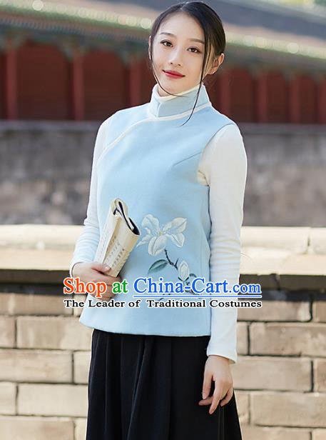 Traditional Chinese National Costume Hanfu Printing Magnolia Cheongsam Vests, China Tang Suit Waistcoat for Women