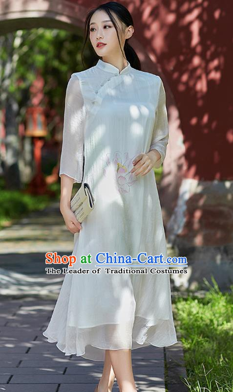 Traditional Chinese National Costume Hanfu Painting Lotus White Qipao Dress, China Tang Suit Cheongsam for Women