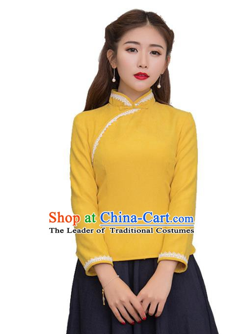 Traditional Chinese National Costume Hanfu Yellow Blouse, China Tang Suit Cheongsam Upper Outer Garment Shirt for Women