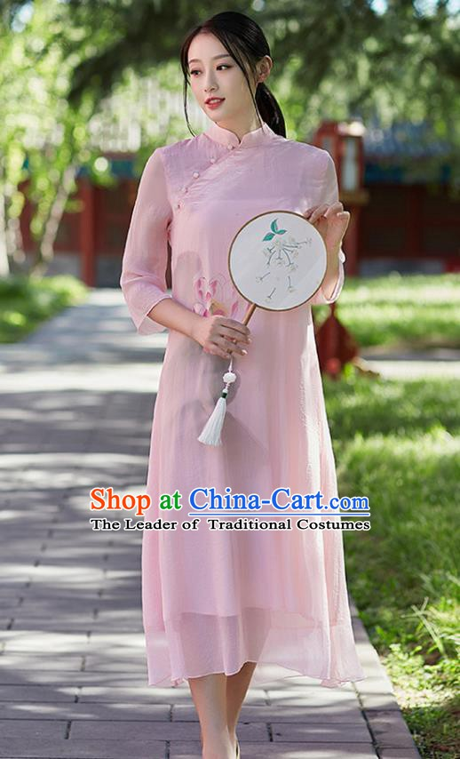 Traditional Chinese National Costume Hanfu Painting Lotus Pink Qipao Dress, China Tang Suit Cheongsam for Women